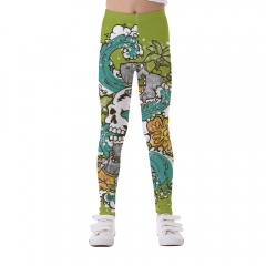 Printed pattern yoga pants polyester ldggings for children girls