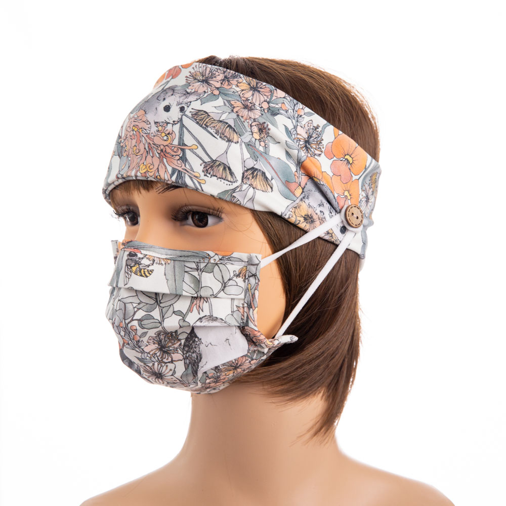 custom order print your own design stretch cotton fabric ear saver face mask headband