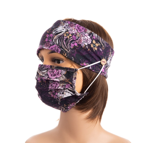 Bulk instock 4 ways stretch custom digital printed knitted cotton button mask headband