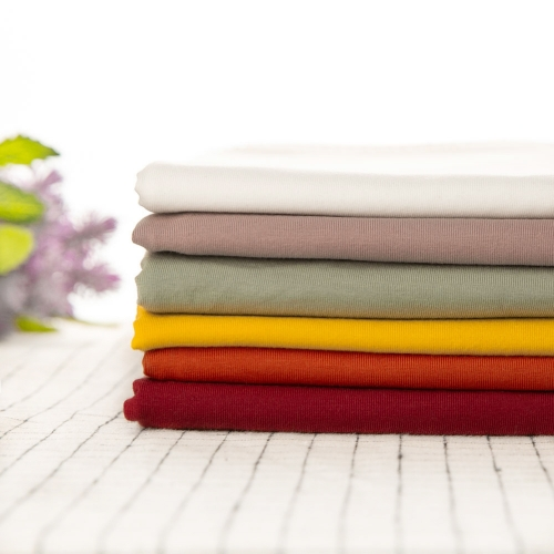 Perfect quality solid color stocklot 4 way stretch 95 cotton 5 elastane jersey knitted fabric