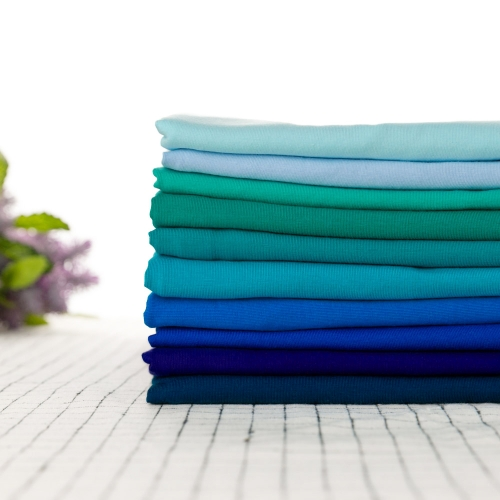 In Stock blue solid color CPSIA approved 95% cotton 5% lycra single jersey fabric