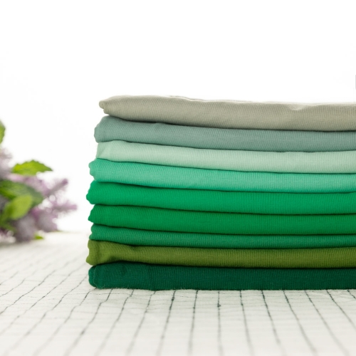 4 ways stretch eco plain dyed Green Series solid color 95 cotton 5 spandex single jersey knit fabric