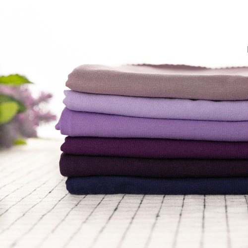 Soft Purplr stock lot knitted jersey 95% cotton 5% elastane fabric for kids wear