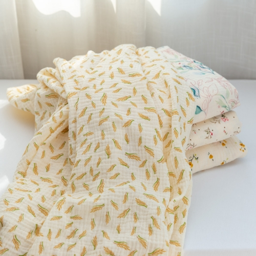 Idea for baby clothes comfortable touch crinkly texture custom leaf printed muslin cotton fabric