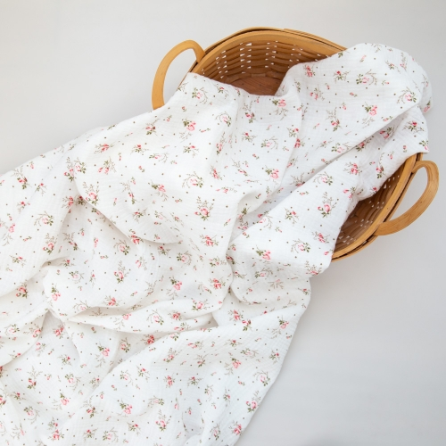 Soft comfortable rose pattern print pretty soft cotton double gauze muslin blanket fabric