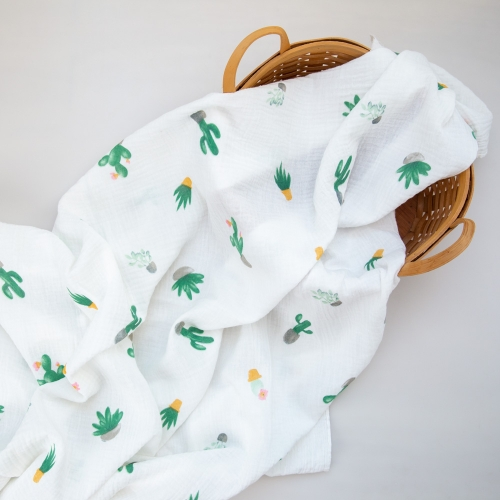 Lightweight soft comfortable cactus pattern print pretty soft cotton double gauze muslin blanket fabric