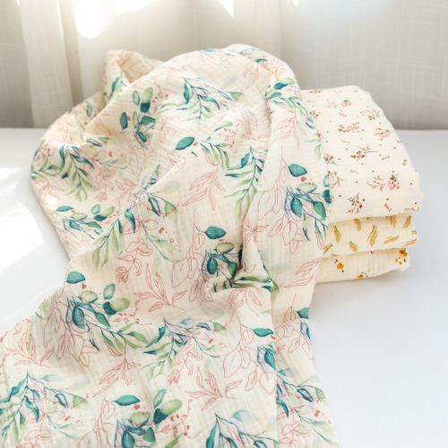 Natural floral patterned soft and breathable 100 cotton muslin gauze swaddle fabric