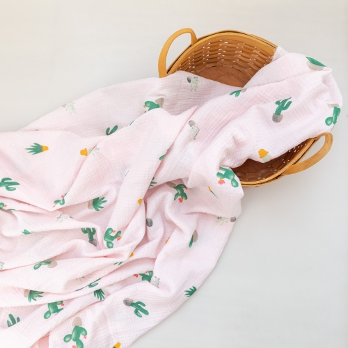 Cactus pattern print pretty soft cotton double gauze muslin cotton gauze fabric for baby